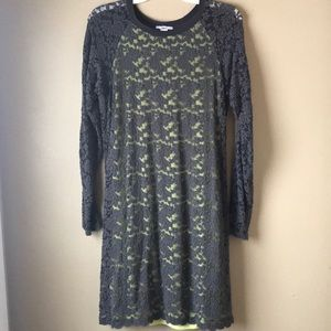 Bar III Gray and Mint Lace Dress NWT